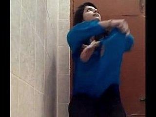 Indian Teen Loveliness Fingering infront of Cam on Bathroom Floor