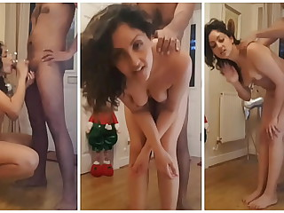 Young dame fucked hard in front of santa to hand Christmas POV Indian